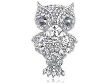 Perched Owl Branch Fashion Brooch Clr Clear Crystal Rhinestone Fat Cartoon Happy