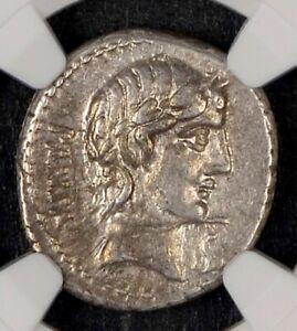 C. Vibius C. f. Pansa ca. 90 BC. AR DENARIUS 19mm 4.11g. NGC Ch XF 5/5 4/5 - 058