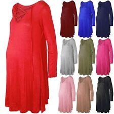 Ladies Women Round Sleeve Maternity Lace Up Eyelet V Deep Neck Swing Mini Dress