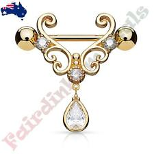 Rose Gold IP Nipple Ring with CZ Set Heart Filigree with Tear Drop CZ Dangle