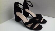 NEW LOOK COMFORT shoes size 8 black suede ankle strap block heel open toe smart