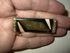 Vintage Art Deco Style Abstract Black & Gold Enamel & AB Crystal Bar Brooch Pin