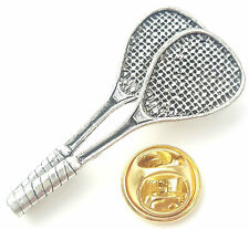 Squash Racket Handcrafted from English Pewter in the UK Lapel Pin Badge