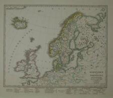 Landkarte map: Schweden und Norwegen, Dänemark, Island u. Faer-Öer. Teilkolorier