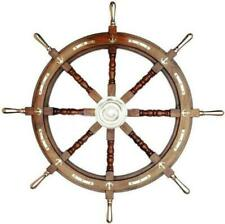 "Nautical wooden ship steering 36"" wheel pirate wooden finish wall decor wheel"