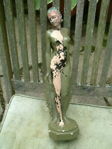 ART DECO 1930's LEONARDI PLASTER FIGURE PHIONE FOR PANEL LAMP, NEEDS RESTORATION