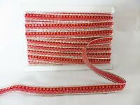 1m x 15mm Iron On/Sew On Diamante Trim Trimming for Clothing Crafts: Red