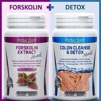 2 x BOTTLES - 60 FORSKOLIN Weight Loss Slimming Pills + 60 DETOX COLON CLEANSE