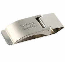 Satin Finish (Metal) Hinged Money Clip -With Box - Personalised / Engraved Free