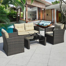 4PCS Gradient Brown Wicker Cushioned Patio Set Garden Sofa Furniture Rattan New