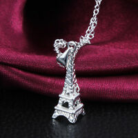 925 Sterling silver Plated Paris Eiffel TowerCharm pendant Necklace Chain 18inch