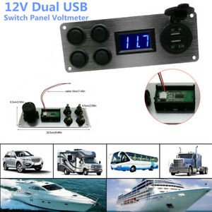 12V 2 USB Switch Panel Voltmeter Phone Charger Power Socket Rocker Boat Marine