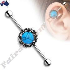 SSteel Industrial Barbell with Burnish Silver Round Turquoise Filigree Centre