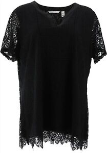 Isaac Mizrahi Split Neck Lace Knit Tunic Woven Trim Black XL NEW A354775