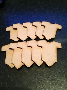Baby Grow Clothes 10x Mdf 3mm. Size 50mm x 45mm Blank Craft.