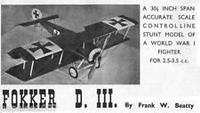 "Model Airplane Plans (UC): Fokker D-III 1/12 Scale 30"" for 2.5-3.5cc (.15-.20ci)"
