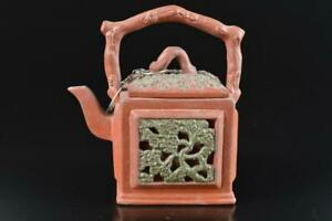 L2102: Chinese Brown pottery Flower sculpture TEAPOT Kyusu Sencha Tea Ceremony