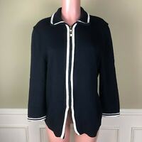 St John Womens Cardigan Jacket Top Santana Knit Black Ivory Trim Zip Front Sz 14