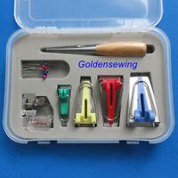 BOX of BINDER BINDING SNAP ON FOOT BIAS TAPE MAKER AWL PIN SET for SEWING QUILT