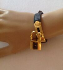 HERMES Kelly Watch Black Leather Band and Face with Gold Markers
