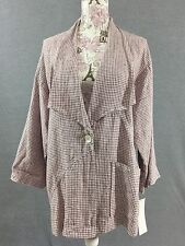 Mosaic USA Womens Lagenlook Jacket Size Small One Button Linen Jacket Blouse NEW