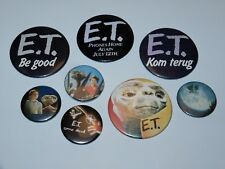 E.T. THE EXTRA TERRESTRIAL BUTTONS BADGES PINBACKS (8X) 1980s UNIVERSAL