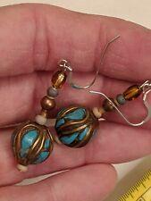 Sterling Hooks Mix Metal Vintage Turquoise Mosaic Multi Stone Earrings Drop