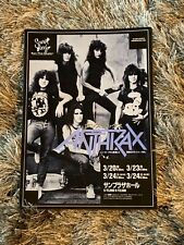 Rare Vintage Japanese Anthrax Concert Advertisement 1987 Metal Among The Living