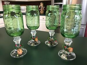 Green Ball Mason Jar Redneck Christmas Wine Glasses With Glass Stems Set Of 4