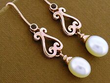 E056- Superb Genuine 9ct SOLID Rose Gold NATURAL Garnet & Pearl Drop Earrings