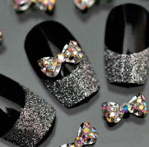 10Pcs Crystal Bow Knot Multicolor Glitter Rhinestone Nail Art Tips 3D Stickers