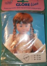 "Glorex copper doll wig with braids, 10"" to 10.5"", Switzerland, artificial hair"