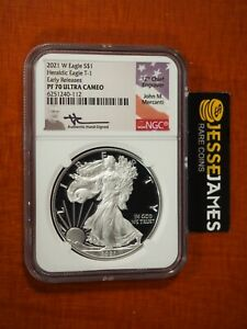 2021 W PROOF SILVER EAGLE NGC PF70 ULTRA CAMEO MERCANTI SIGNED EARLY RELEASES T1
