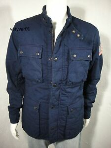 RALPH LAUREN D&S Military Motorcycle Indigo-Dyed Cotton Quilted Jacket sz XXL