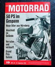 Das Motorrad 19/69 Test Moto Guzzi 750 Seitenwagen,DKW RT 159,Hercules K 50 R/SX