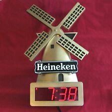 Vintage Heineken Windmill Gold Beer Sign Digital Clock Excellent Condition Works
