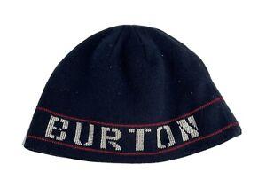 Burton Snowboards Spellout Knit Beanie Cap Acrylic Easy Care Washable Dark Blue