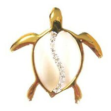 14K Yellow Gold Diamond Honu Sea Turtle Pendant. New C-1267-58