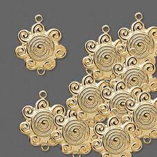 Link Gold Swirl Sun Flower Charm Drop Finding 17mm Jewelry Craft Lot of 20