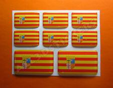 8 x Pegatinas 3D Relieve Bandera Aragon - Todas las Banderas del MUNDO