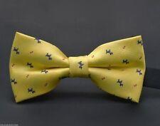 Unique Yellow Dog Terrier Men's Adjustable Satin Bow Tie Wedding Necktie