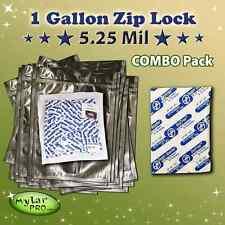 25 1 Gallon 5.25 Mil Zip Lock Mylar Pro Foil Bags 10x16 + 600CC Oxygen Absorbers