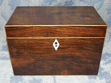 Antique Victorian ROSEWOOD & Boxwood Tea Caddy / Box with 2 Compartments c1860