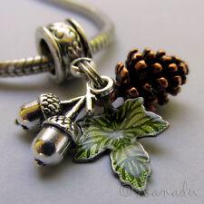 Autumn European Pendant Charm - Copper Pine Cone, Silver Acorn And Green Leaf
