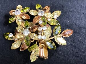 JewelCrest Donald Simpson Brooch Rhinestones Green Gold Vintage Australian 1950s