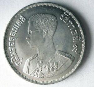 1957 THAILAND BAHT - AU/UNC - Excellent Exotic Silver Coin - Lot #S15