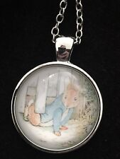 Peter Rabbit Childrens Classic Cartoon Character, Glass Dome Necklace NEW!