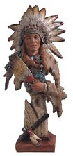 "14"" Inch Indian w/ Tomahawk Head & Bust Native Indio Americano Statue American"