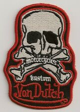 "**NEW**Rare** Von Dutch ""Motorcycle Custom"" Red/Black/White Scull Patch **LOOK**"