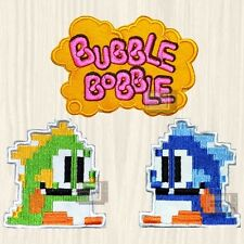 Bubble Bobble Patches Set Word Logo Blue Green Dragon Arcade Bob Bub Embroidered